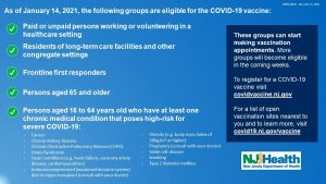 State of New Jersey COVID-19 Vaccine Eligibility